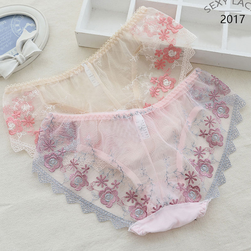 Fashion embroidering panties female sexy full lace panty comfort soft underpant women briefs ladies underwear