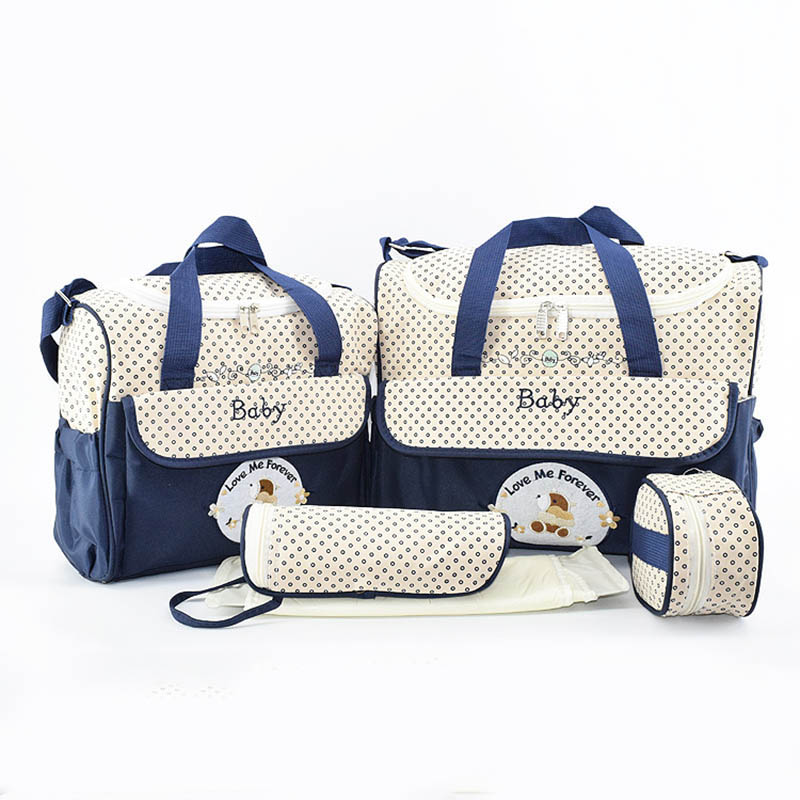 5pcs/set Baby Diaper Bag Large Capacity Organizer Bag Changing Nappy Bag For Baby Moms Maternity Bag