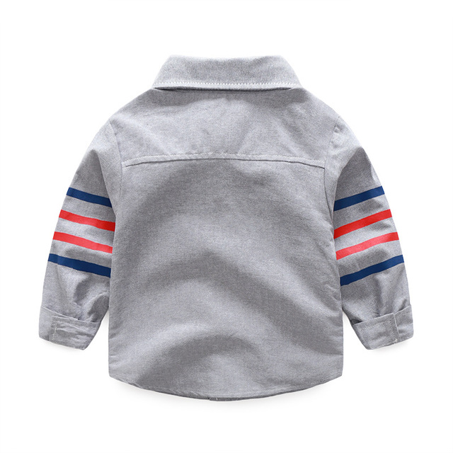 1-5 years Baby shirts 20018 spring new casual 4 bars turn down collar long sleeved children boys clothes autumn outwear