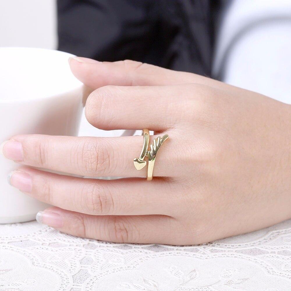 GNIMEGIL Women Fashion Gold Color Angel Wings & Heart Ring for Girls ...