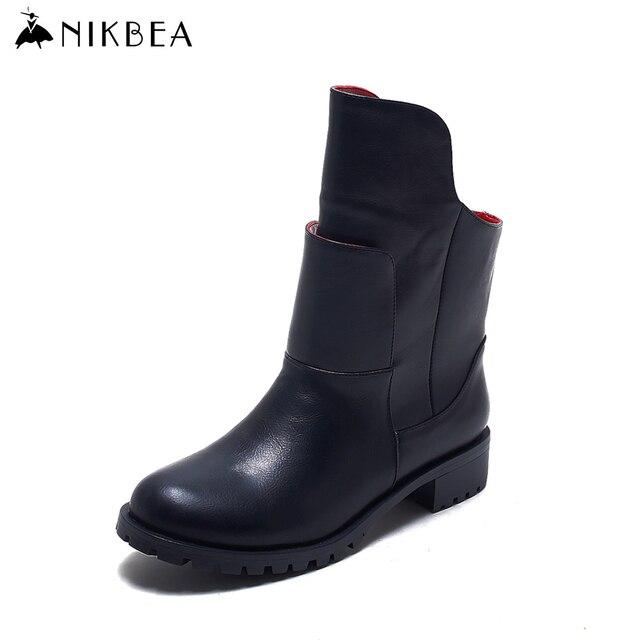 Nikbea Mulheres Botas Sapatos de Inverno 2016 Tamanho Grande Do Punk Tornozelo Botas Senhoras Preto Botines Mujer Marca Couro Bottes Femmes Hiver