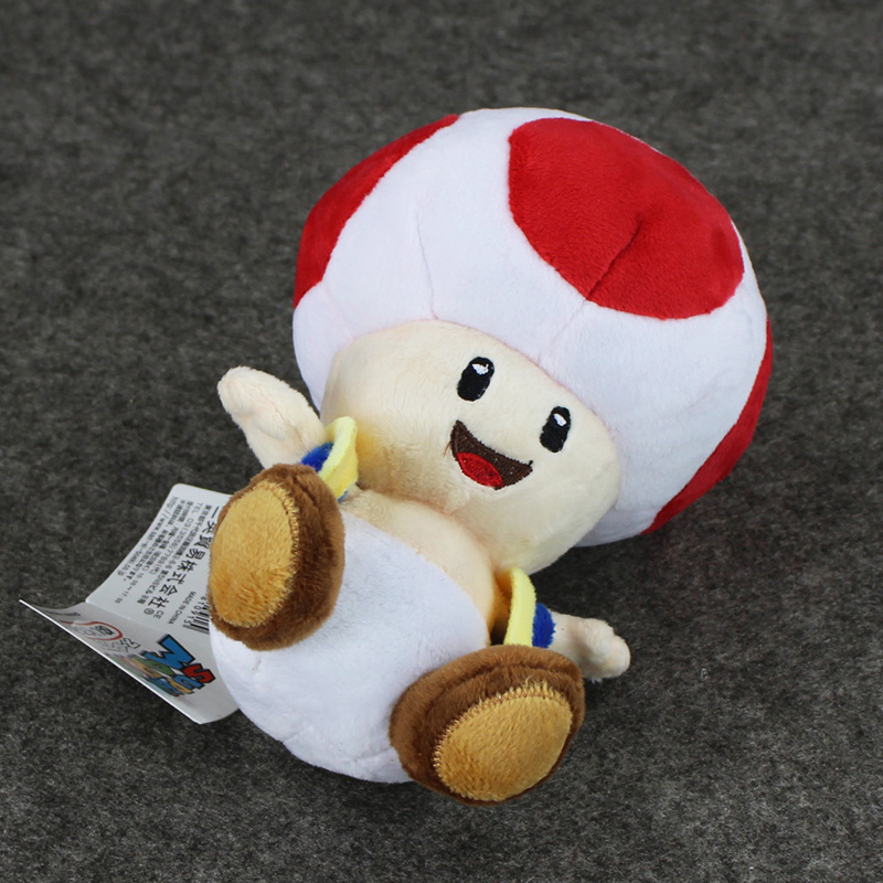 1pcs 7'' 17cmCute Super Mario Bros Plush Toys Mushroom Toad Soft Stuffed Plush Doll with Sucker Baby Toy For Kids 3