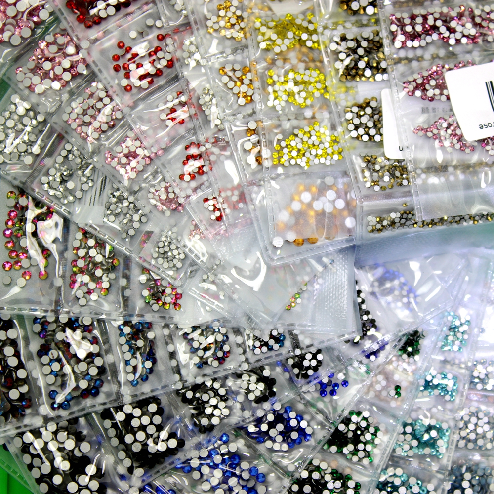 Nail DIY Gems 24 Colors SS3-SS10 Small Sizes Glass Rhinestones For Nails 3D Nail Art Decoration Low Shipping Cost Bulk