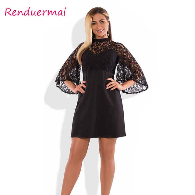 53dc4f7cecb 2019 Summer Women Dress Elegant Sexy Party Dress Tunic Vintage Plus Size  Dress Mini Black Lace Dress 5XL 6XL Big Vestidos