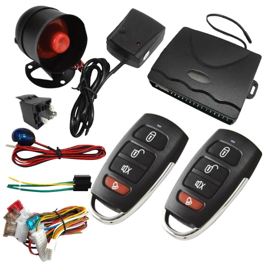 Nouveau universel 1 voie véhicule système d'alarme de voiture Protection sécurité clé moins entrée sirène 2 télécommande cambrioleur offre spéciale auto kit