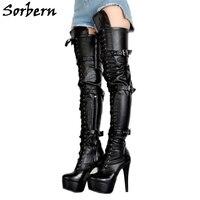 Sorbern мульти пряжки ремни сапоги промежность бедра высокая женская обувь черная платформа стилеты на заказ цвет молнии сапоги большой разме