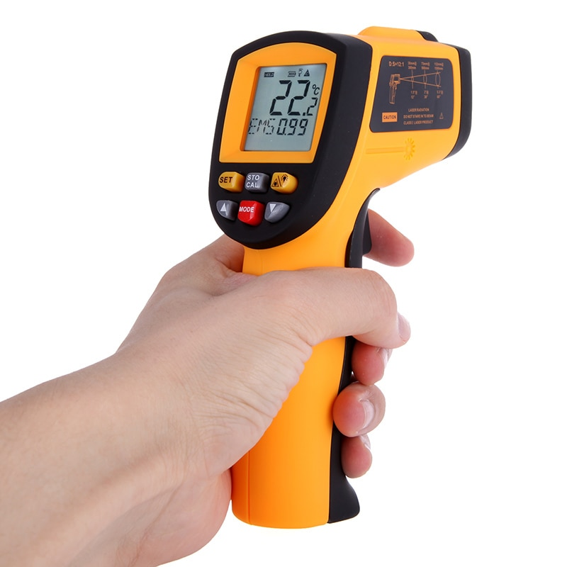 Good Quality IR Infrared Thermometer Digital LCD Laser Temperature Tester Diagnostic Gun 12 : 1 Non Contact hygrometer  50 700C Temperature Instruments     - title=