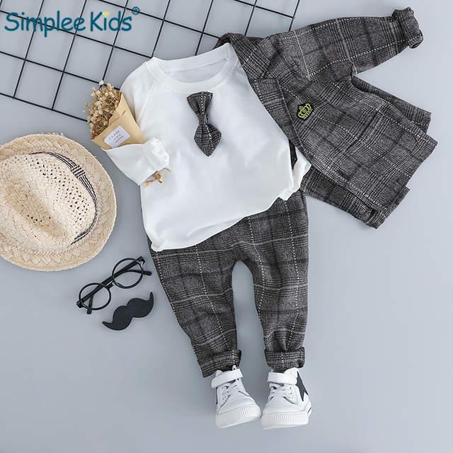 d074a047e Simplee Kids 2018 Baby Boy Clothing Sets Male Children Clothes Suits Kid  Gentleman Style Coats T Shirt Pants Grid Infant Clothes