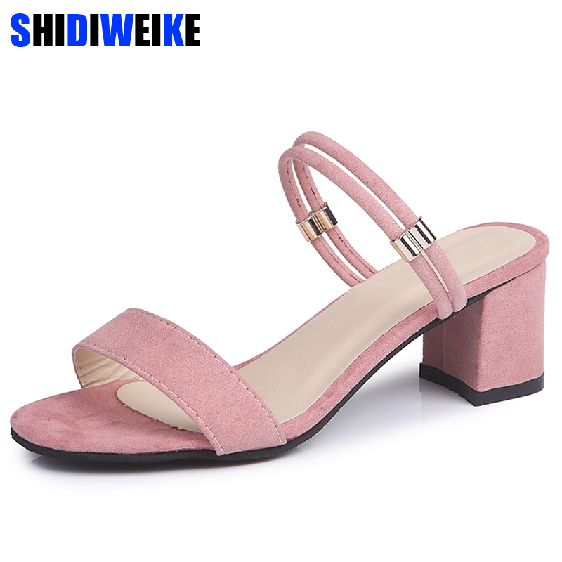 2018 new arrive women sandals top quality flock casual shoes shallow shoes summer shoes comfortable square heel m667 цена
