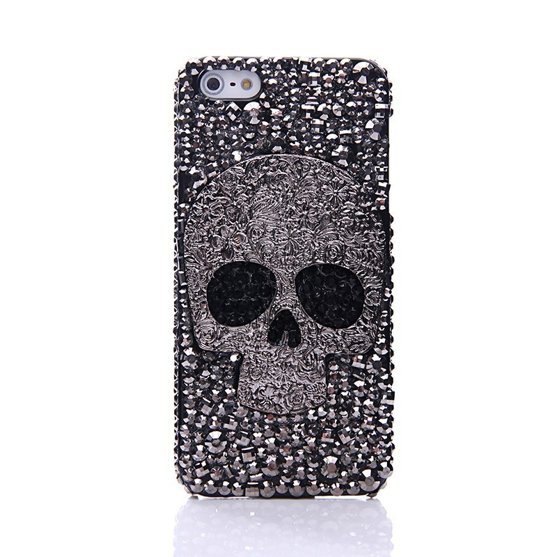 Diamond Metal saphire eye Skull phone case For IPhone 6 6S Plus 5 5S 5C 4S Samsung Galaxy Note 5 4 3 2 S7 S6 Edge Plus S5 S4 S3