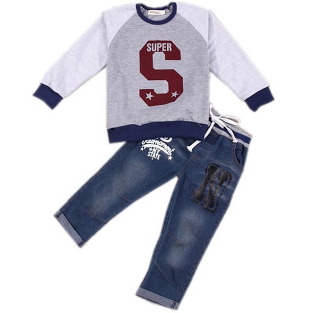 Boys Summer Comfortable Clothes sets Letter Printed Cute Sweater+ jeans kids fashion clothing set Baby 2 Pcs
