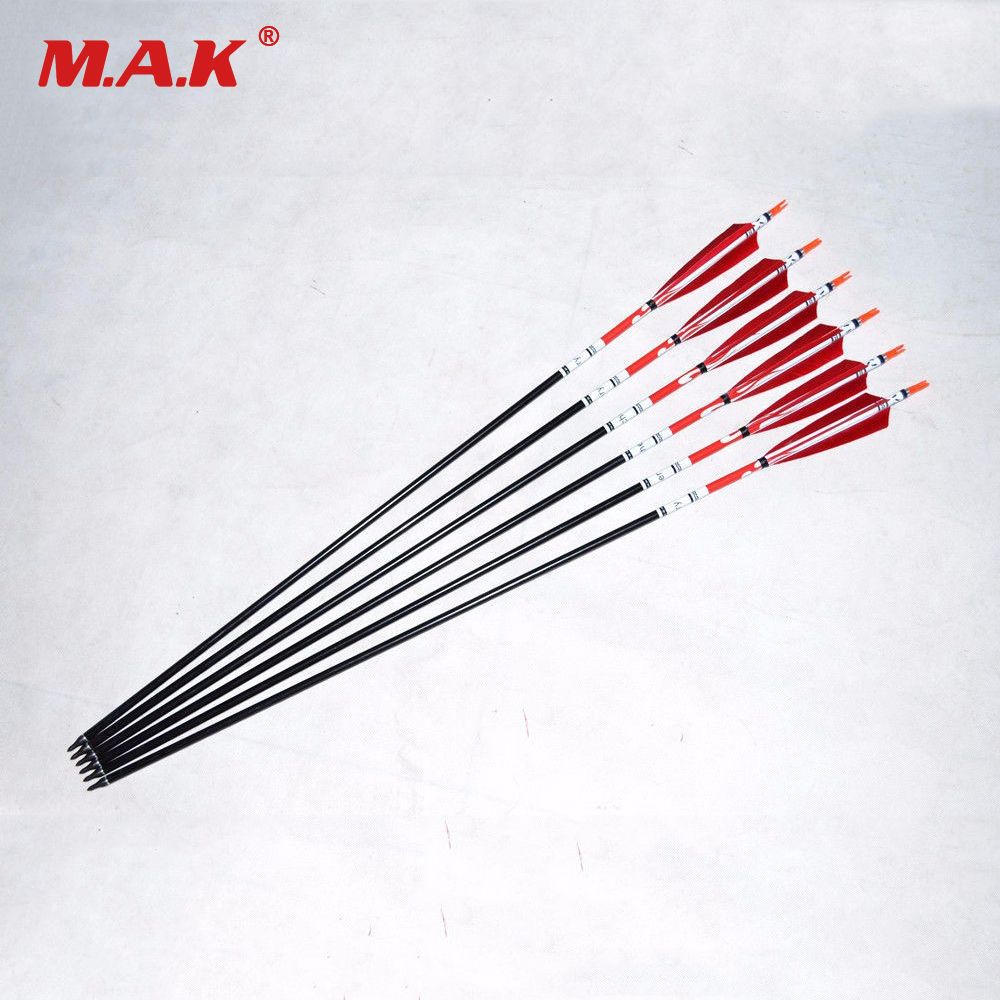 6/12 pcs 32 Aluminum Arrow With Red Turkey Feather Spine 500 for 50-60 lbs Compound Recurve bow Archery Hunting Arrows 6 12pcs linkboy archery carbon arrow shaft 32inch 5 turkey feather arrow nock compound recurve bow hunting arrows shooting