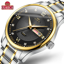 OLMECA Top Brand Watch Relogio Masculino Sport Style Quartz Stainless Steel Clock Men's Watches Luxury Waterproof Fashion Watch 50pcs lot new genuine panasonic cr2450 3v cr 2450 lithium button cell battery coin batteries for watches clocks hearing aids