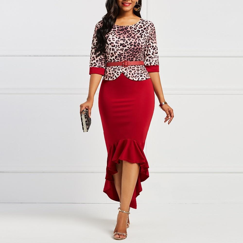 2018 New Autumn Office Lady Vintage Preppy Style Burgundy Women Dresses Asymmetric Falbala Print Leopard Girls Fashion Dress