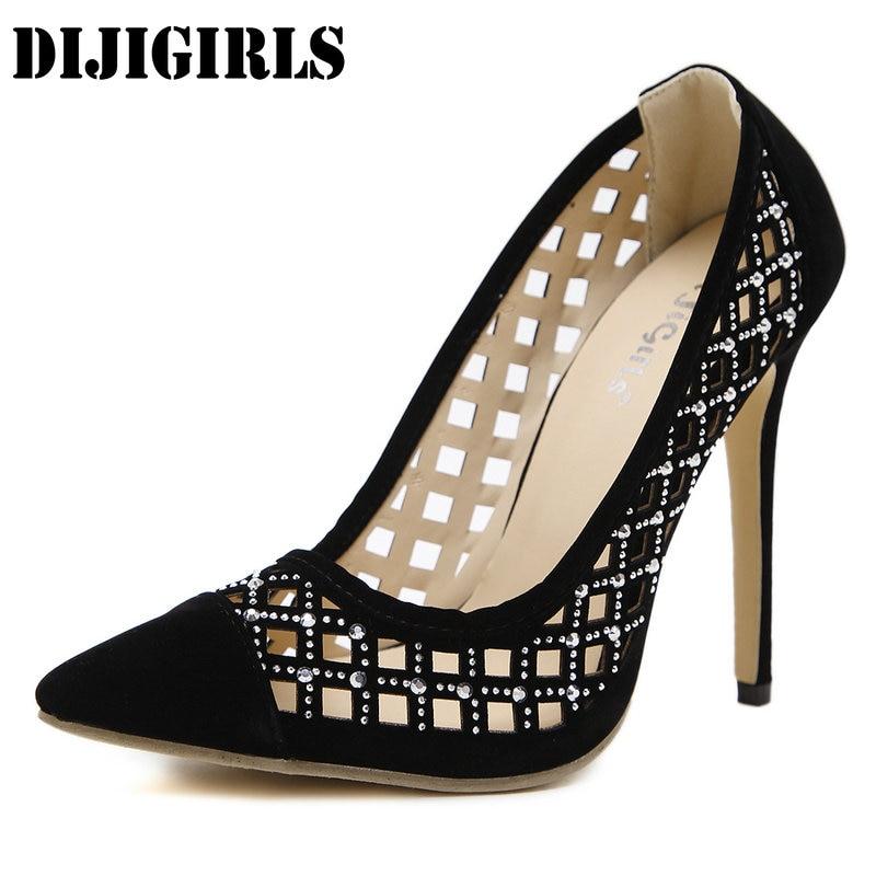 где купить Women Gladiator Sandals Slip-On Casual Cut Outs High Heels Sandals Fashion Wedding Rhinestones Thin Heels Ladies Shoes 35-40 по лучшей цене