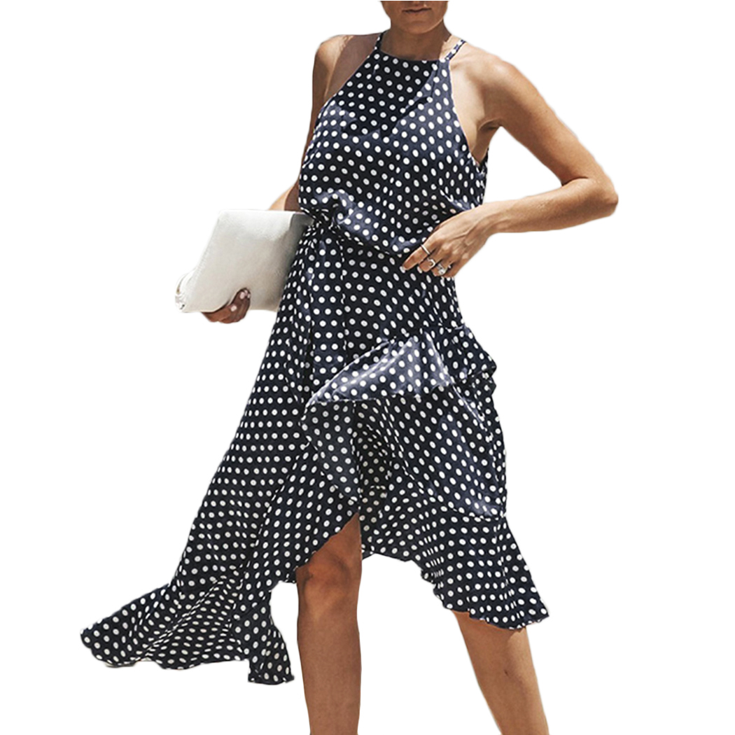 2018 Summer Polka Dot Beach Dress Women Sexy Halter Sleeveless Ruffles Long Maxi Dressses Casual Irregular Bandage Boho Sundress