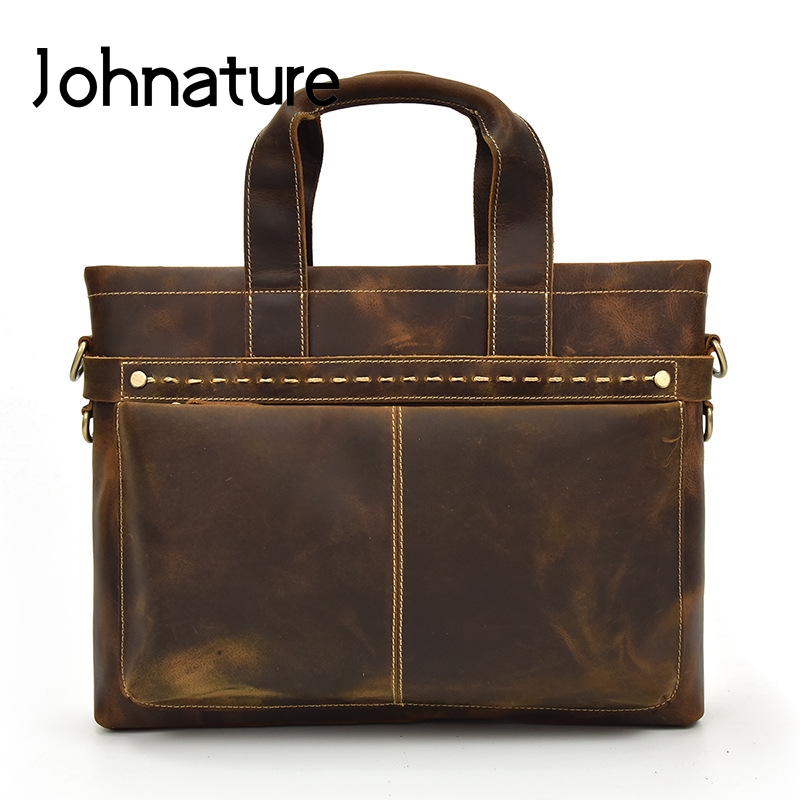 Johnature 2019 New Vintage Crazy Horse Leather Briefcase Men Laptop Bags Cow Leather Handbags&Crossbody Bags Mens Business Bag