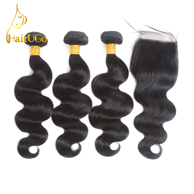 HairUGo Hair Pre-colored Brazilian Hair Body Wave 3 Bundles 100% Human Hair With Closure #1b Nature Black Non Remy