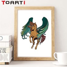 Modern Watercolor Cartoon Animal Horse With Wings Art Canvas Painting Poster A4 Wall Picture Decorative Prints Home Decor