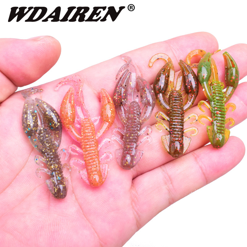 5pcs/lot soft baits fishing lures 5cm 2g Jigging wobbler swivel rubber lure fishing worms shrimp salt smell bass Fishing tackle lifelike shrimp style soft pvc fishing baits w hook yellow size l 3 pack