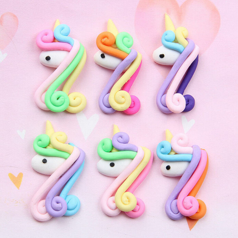 Obliging 2pcs/lot Kids Favor Unicorn Head Cake Decoration Soft Clay Unicorn Headdress Phone Case Decor Birthday Party Supplies Plush Keychains
