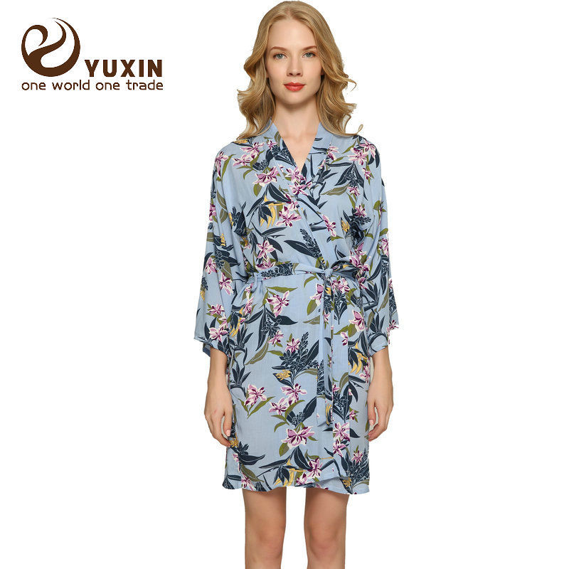 f4b2e503e8 Cotton Floral Robe women bride robe Dressing Gown Bride Wedding kimono robe  Leaf-in Robes from Underwear   Sleepwears on Aliexpress.com