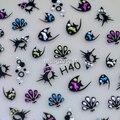 Venta al por mayor 5 hoja diseño lindo de los pescados 3D pegatinas adhesivos decoraciones del clavo de los Rhinestones H40