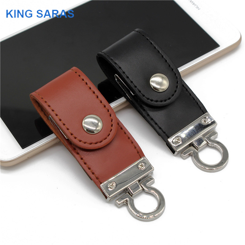 KING SARAS Pendrive Brown Black  Leather With Key Chain 4GB 8GB 16GB 32GB 64GB Style Usb Flash Drive Usb 2.0 Usb Stick