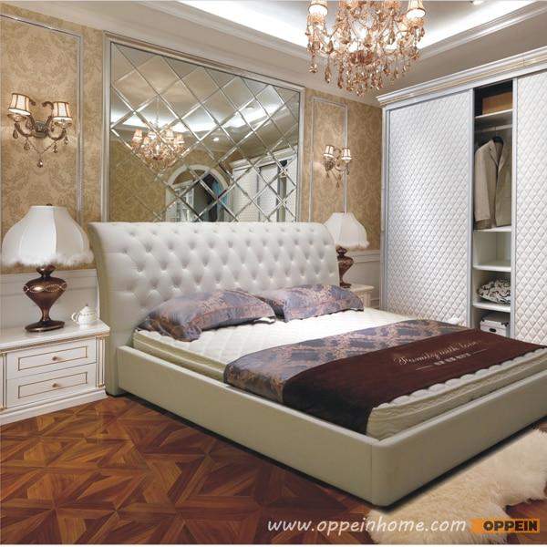 Oppein Venta caliente cereza madera/cama doble rey/tamaño queen ...