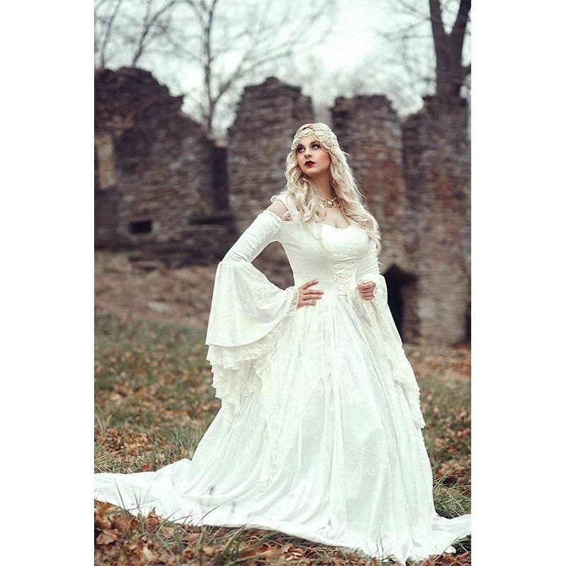 Vintage Renaissance White Wedding Dress Celtic Medieval Bell Sleeves ...