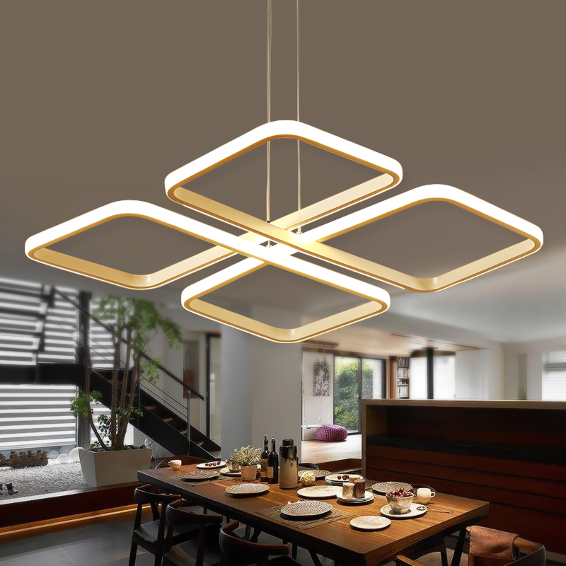 Square lampadario moderno Modern Led Pendant Chandelier Lights For Dining Living Kitchen Room White Color Aluminum Hanging Lamp
