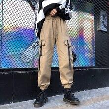Women Cargo Pants 2020 New Arrival Spring And Autumn Female Jogger Pants Black Khaki Girl Ankle-Length Pants Korean Style N29 men pants thin 2019 new arrival spring and autumn linen cotton casual male ankle length pants black gray khaki korean style n29