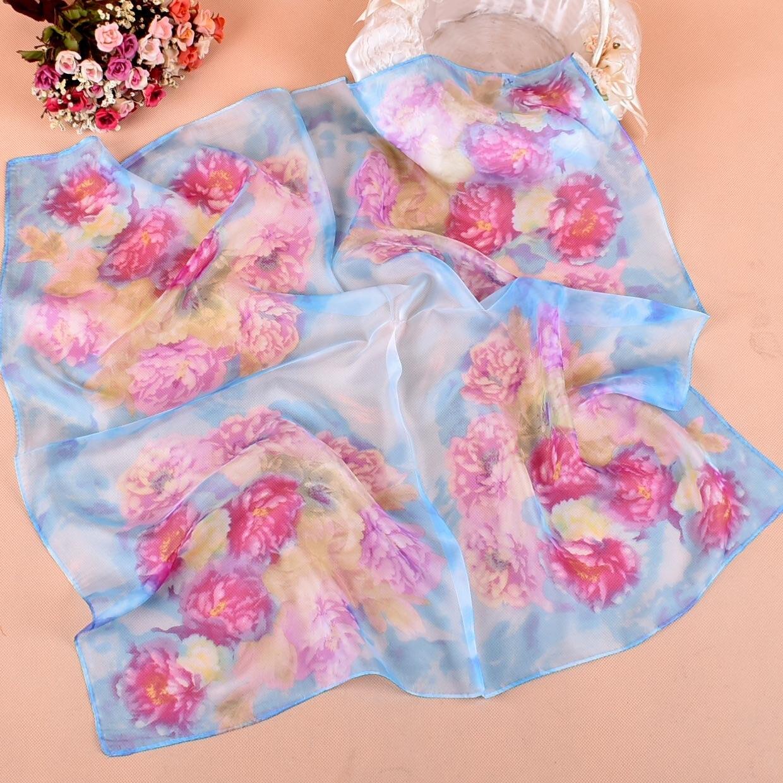 70*70cm New Elegant Women Silk   Scarf   Foulard flower Bandana Hair Band Bufanda Mujer Small Vintage Square   Scarf   scarfs for ladies