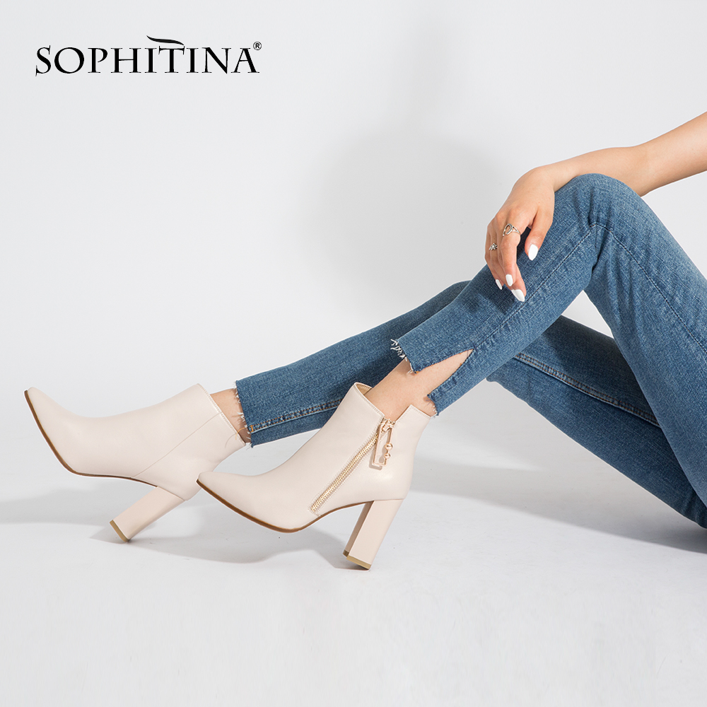 SOPHITINA 2019 Winter Ankle Boots Genuine Leather Pointed Toe Super 9cm High Square Heel Shoes Handmade