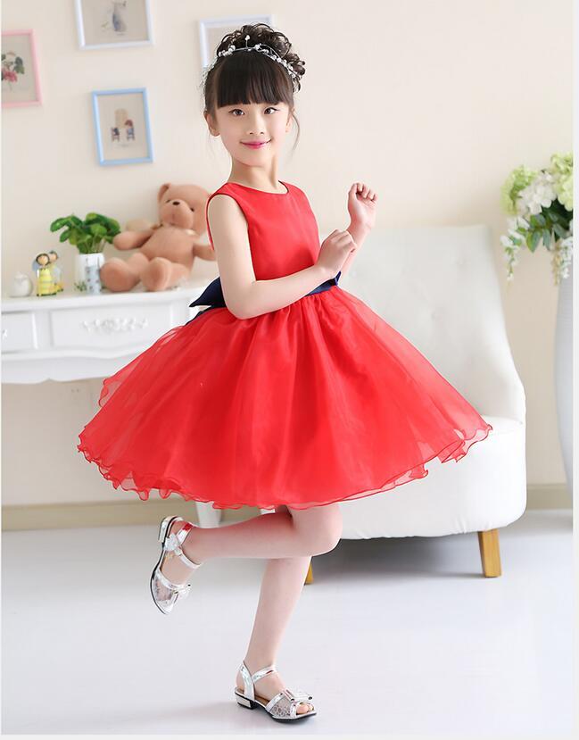 2151 50 De Descuentolindo Barato Rojo Blanco Rosa Niñas Vestido De Línea A Corto Niñas Vestidos Sin Mangas Con Faja Vestido De Fiesta De