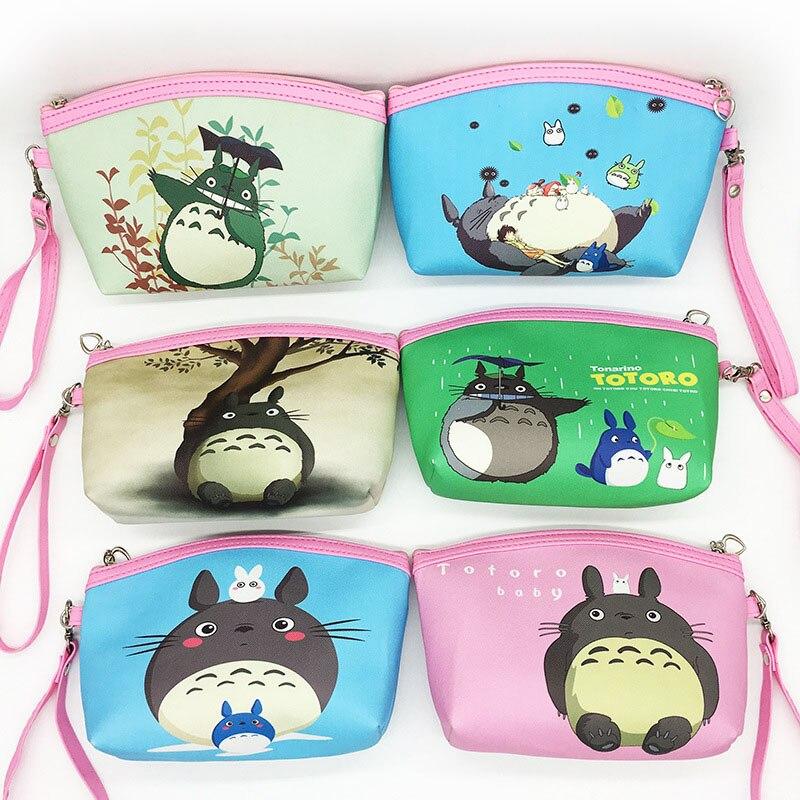 YIYOHI PU Totoro Travel Cosmetic Bag Women Zipper Makeup Case Make Up Bags Necessaries Organizer Storage Pouch Functional Bag
