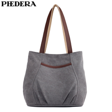 PHEDERA New Female Canvas Shoulder Bags 2019 Spring Women Casual Handbags Small Vintage Gray Beige Purse for Woman