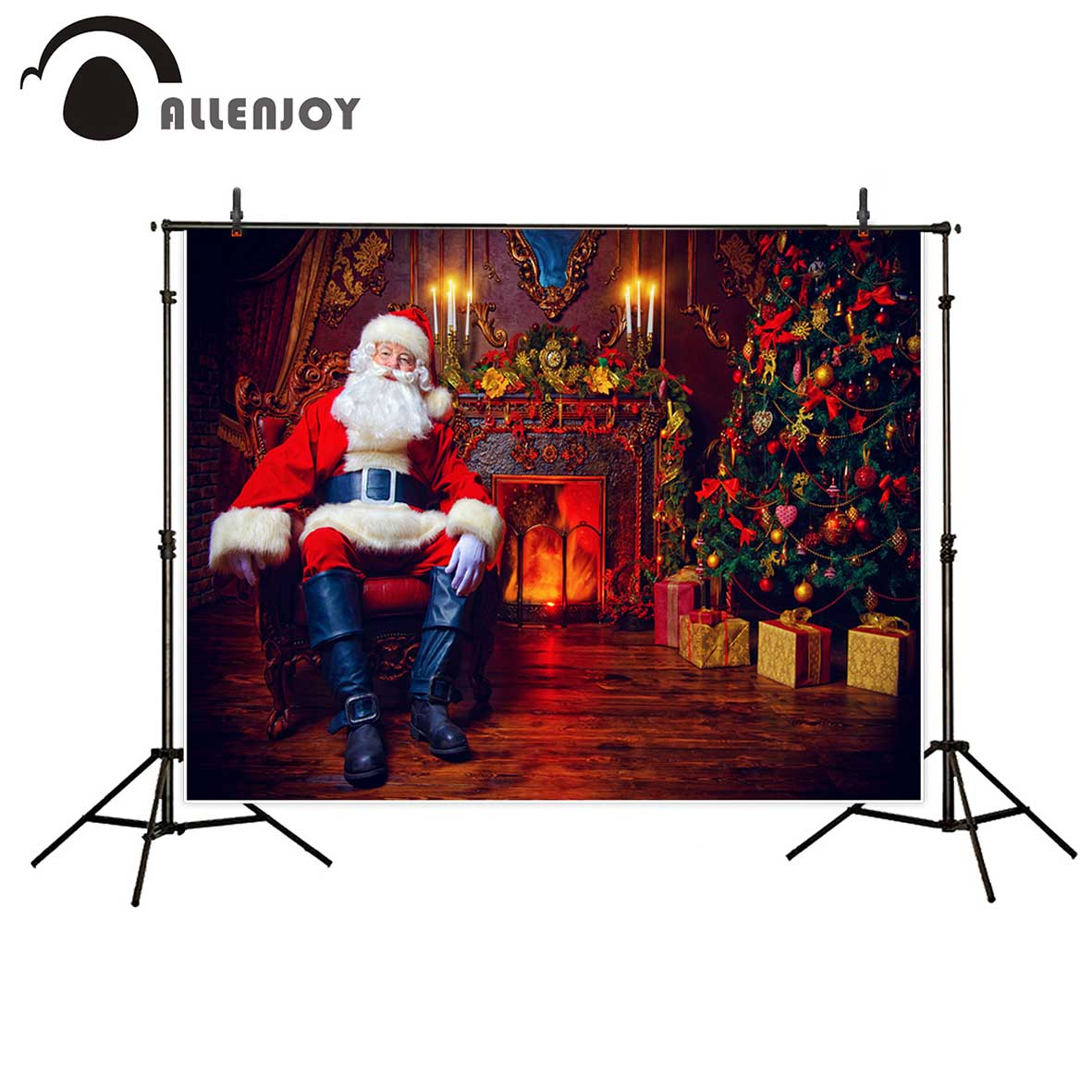 Allenjoy photography background santa claus indoor fireplace christmas tree resting armchair backdrop Photo background studio christmas background vinyl photography backdrop christmas tree candles gifts children photo backdgrounds for studio zr 196