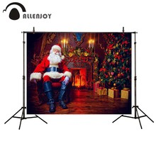 Allenjoy photography background  santa claus indoor fireplace christmas tree resting armchair backdrop Photo studio