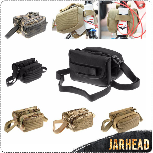 412e0b97a383 Outdoor Military Waterproof MOLLE Bag MTB Cycling Frame Saddle Bag Utility  Pannier Bike Front Tube Bags 2 Sides