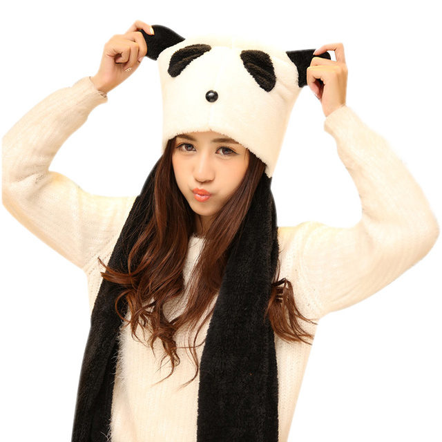 fac8d67dc0361 Panda Ears Cartoon Women Hat Scarf Glove Set Thick Warm Fashion Lovers Hat  Cute Panda Pattern Winer Beanie Hat For Women New