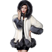 2016 Winter  Faux Fur Overcoat Fur Faux Fur Coat White Gray Imitation Coat Faux Fur Coat Women Jacket Plus Size