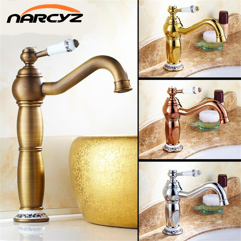 Basin Faucets Antique Bronze Solid Brass Bathroom Sink Faucet With Ceramic Single Handle Hole Washbasin Mixer Tap XT980Basin Faucets Antique Bronze Solid Brass Bathroom Sink Faucet With Ceramic Single Handle Hole Washbasin Mixer Tap XT980