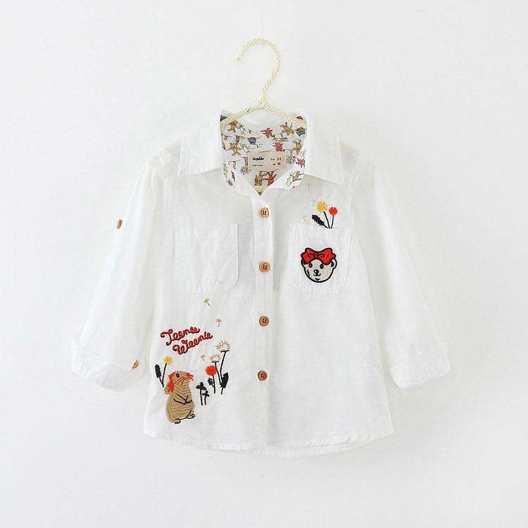 girls cotton font b shirt b font embroidered long sleeve white font b shirt b font
