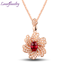 LOVERJEWELRY Women Ruby Flower Pendant Jewelry Solid 18K Rose Gold Natural DiamondS Ruby Pendant For Lady Dancing Party Dressing faux ruby geometric flower jewelry set