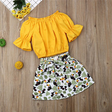 Emmababy Kids Clothes Summer New 2pcs Set Girls Sweet Solid Yellow Half Sleeve Tops T-Shirt arrival Print Skirt Holiday Beach