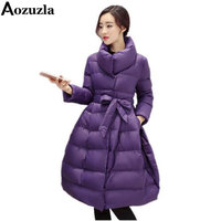 Women Winter Jackets And Coats 2018 New Fashion Long Women Wadded Jacket Coat Thick Warm Female Outerwear Parka Purple Y419