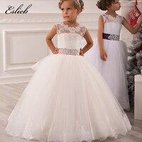 Пышные платья для девочек платье принцессы из тюля прозрачная кружевная аппликация белое длина до пола детское платье для первого причасти...