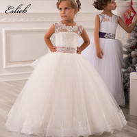 Little Girl Pageant Dresses Princess Tulle Sheer Lace Appliques White Floor Length Kids First Communion Gown 0 12 Year Old Dress