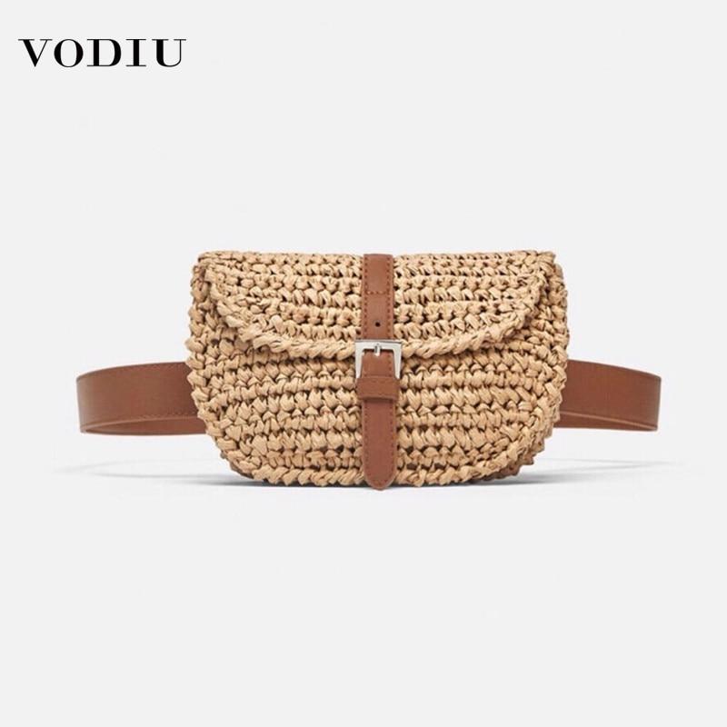 Women Handbags Waist Bag Straw New Popular Pockets Handmade Braided Woven Vogue Hot Sale Design Crossbody Chest Pack For Female